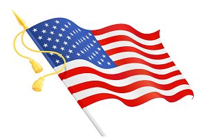 USA flag at handle. National symbol.