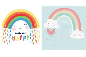 Cute rainbow vector-T shirt graphics