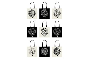 Shopping bag collection, art tree design