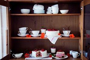 Cakes on shelves