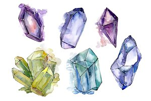 Aquarelle crystals mineral PNG set