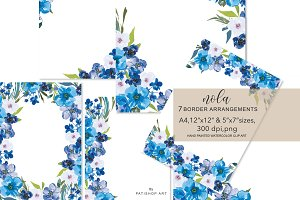 Watercolor Blue Hues Flowers Foliage