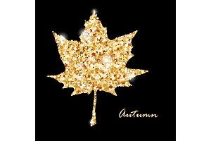 Autumn muple leaf, gold glitter vector design.