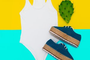 Fashion summer accessories. Flat lay