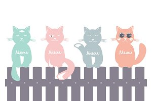 Seamless pattern background with cats on the fence