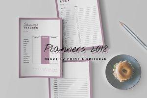 Editable/Printable Planners 2018
