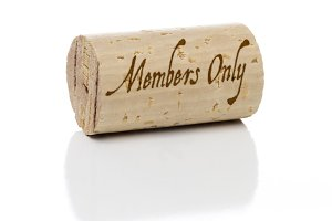 Members Only Branded Wine Cork Isolated on a White Background.