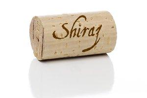Shiraz Wine Cork with Isolated on White Background.