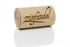 Zinfandel Wine Cork with Isolated on White Background.