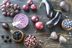 Purple fruits and vegetables