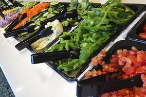 Delicious Buffet Counter with Fresh Vegetables.