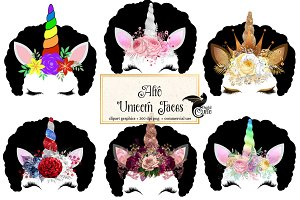 Afro Unicorn Faces Clipart