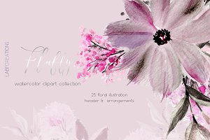 Fluffy. Watercolor floral clipart
