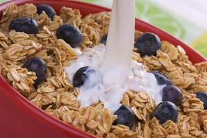 Bowl of Breakfast Cereal and Berries