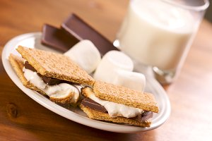 Smores and Milk with Narrow Depth of Field