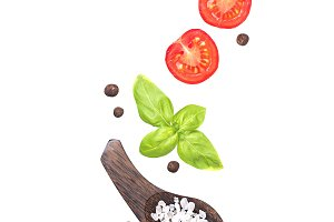 Cherry tomatoes, basil, salt and pepper isolated on white