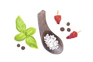 Basil, salt and pepper isolated on white
