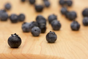 Blueberries on a Cutting Board with Selective Focus.