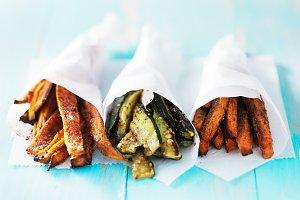 trio of veggie fries