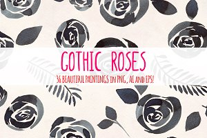 Gothic Roses - 36 Watercolor Clipart