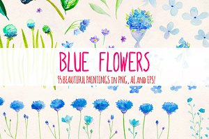 95 Blue Flower Watercolor Elements