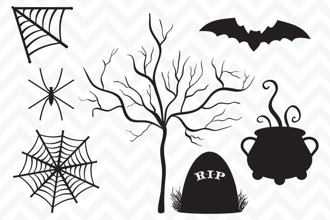 Clip Art Vector Halloween Silhouette ~ Illustrations ~ Creative Market