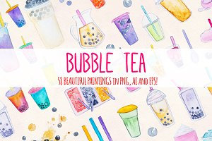58 Bubble Tea Watercolor Graphics