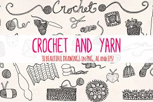 33 Crochet and Yarn Sketch Graphics