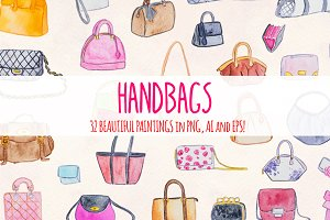 32 Womens Handbags Purses Watercolor