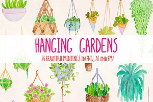 26 Hanging Plants Garden Watercolor