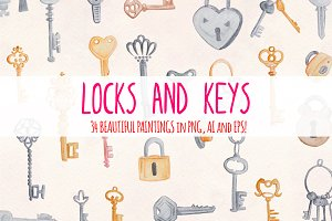 Locks and Keys 34 Watercolor Graphic