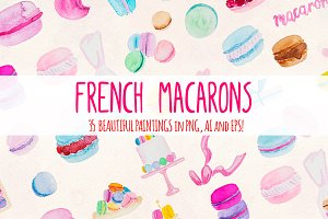 35 Pretty French Macarons Watercolor