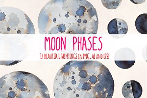 14 Moon Phases Watercolor Graphics