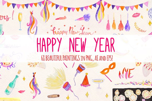 68 New Year's Eve Watercolor Vector