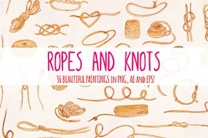 36 Ropes and Knots Watercolor Vector