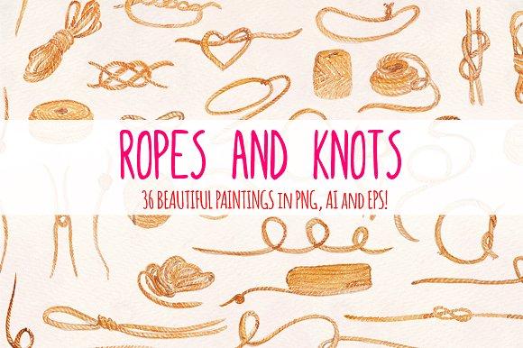 36 Ropes and Knots Watercolor Vector