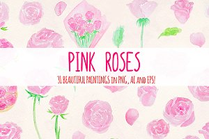 31 Pink Roses Watercolor Graphics