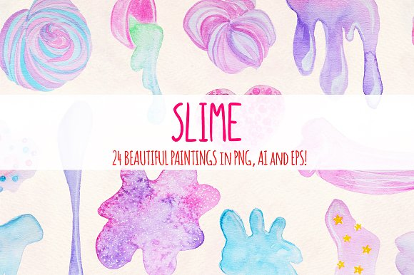 24 Fluffy Crunchy Slime Watercolors