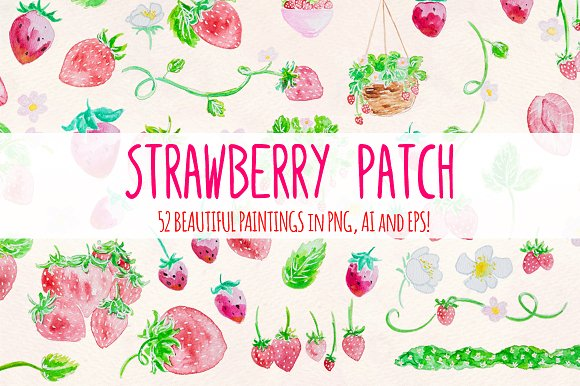 Strawberry Patch 52 Cute Paintings
