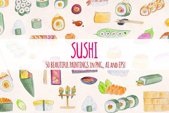 Sushi Train 50 Watercolour Graphics