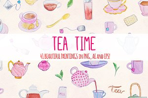 Afternoon Tea Time 41 Watercolors