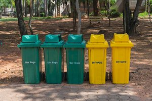 trash cans in the park