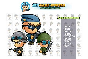 Soldiers 2D Game sprites Set