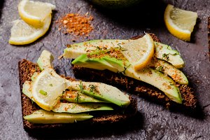 Vegan avocado sandwich