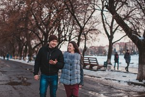 Romantic couple walking