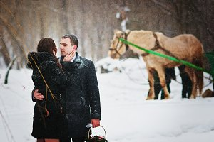 Loving couple at winter day