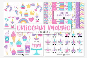 Unicorn Clipart/Digital Paper Bundle
