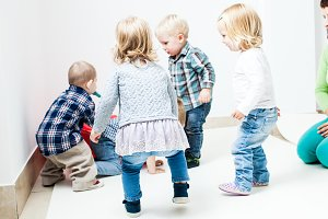 Playful children in room