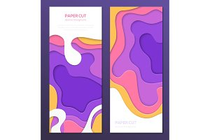 Multicolored abstract banner - set of vector template illustrations