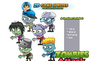 Zombies Game Character Sprites Set